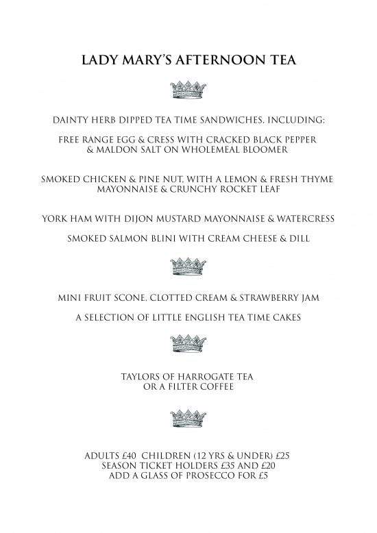 Lady Mary Afternoon Tea Menu